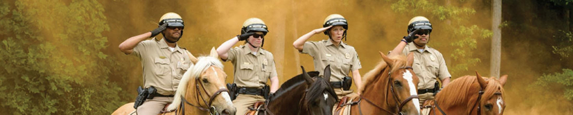Men and Woman police saluting on horseback
